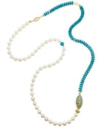 Farra - Freshwater Pearls & Turquoise Multi-way Necklace - Lyst