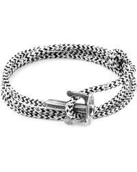 Anchor & Crew - White Noir Union Anchor Silver & Rope Bracelet - Lyst