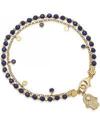 Astley Clarke Lapis Hamsa Droplet Bracelet - Blue