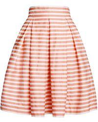 Rumour London - Amalfi Coral Striped Midi Skirt - Lyst