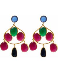 Carousel Jewels - Chalcedony Aventurine & Black Onyx Gold Statement Earrings - Lyst