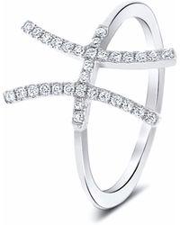 Cosanuova H Diamond Ring 18k White Gold - Metallic