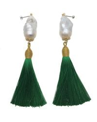 Farra Baroque Pearl Green Tassel Earrings