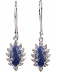 Meghna Jewels - Claw Single Drop Marquise Earring Blue Sapphire & Diamonds - Lyst