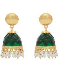 Carousel Jewels - Carved Green Quartz & Aventurine Chandelier Earrings - Lyst