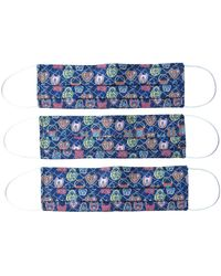 Rumour London Reusable Protective Cloth Masks With Integrated Filter In Liberty Print Together (pack Of 6) - Blue