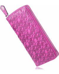 Drew Lennox Luxury English Leather Ladies 12 Card Zip Around Purse & Wallet In Fuchsia Pink