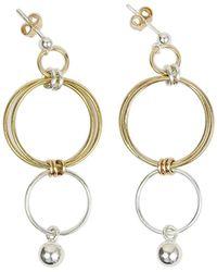 Alison Fern Jewellery - Finn Drop & Stud Silver & Gold Earrings - Lyst