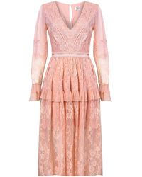 True Decadence Dusty Peach Lace Midi Dress - Pink