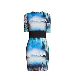 Rumour London Meribel Soft Jersey Dress With Landscape Print - Blue