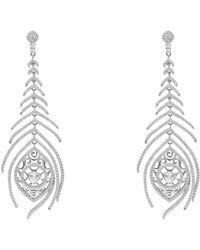 LÁTELITA London - Peacock Feather Long Drop Earring Silver - Lyst