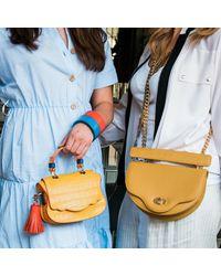 Thale Blanc Crescent Crossbody: Designer Crossbody Chain Handbag In Yellow