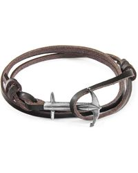 Anchor & Crew - Dark Brown Admiral Anchor Silver & Flat Leather Bracelet - Lyst