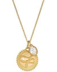 One and One Studio Gold Medallion Snake Symbol Talisman Pendant With Oval Cz Jewel Charm Pendant On Chain - Metallic