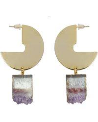 Tiana Jewel Desert Vibe Amethyst Sector Gemstone Earrings - Metallic