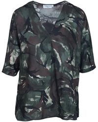 Haris Cotton Printed Viscose Blouse With Front Pleat - Green