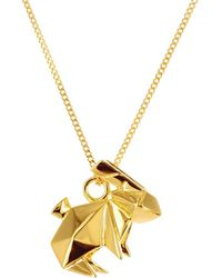 Origami Jewellery | Mini Rabbit Necklace Gold | Lyst