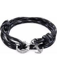 Anchor & Crew - Black Clyde Silver & Rope Bracelet - Lyst