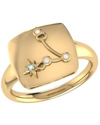 LMJ Pisces Two Fish Constellation Signet Ring In 14 Kt Yellow Gold Vermeil - Metallic