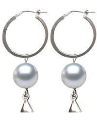 Coup de Coeur London Silver Pearl Hoop Earrings - Metallic
