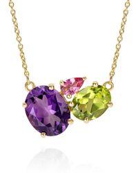 Augustine Jewels Purple Amethyst Gold Cluster Necklace - Metallic