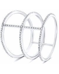 Cosanuova Three Band Diamond Ring 18k White Gold - Metallic