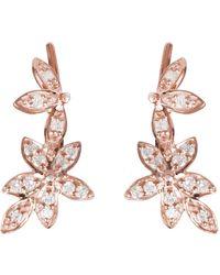 LÁTELITA London - Diamond Flowers Ear Climber Rosegold - Lyst