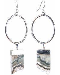 Tiana Jewel - Amethyst Violeta Silver Hoop Earrings Sari Collection - Lyst