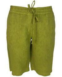 Haris Cotton Elastic Waistband Linen Bermuda - Green