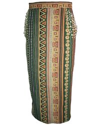 relax baby be cool Pencil Skirt With Pearl Embroidery - Green