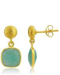 Auree Iseo Amazonite & Gold Vermeil Earrings - Metallic