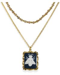 Vintouch Italy Bee Cameo & Pink Labradorite Layered Necklace - Metallic