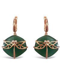 Bellus Domina Aventurine Dragonfly Earrings - Green