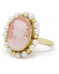 Vintouch Italy Little Lovelies Gold-plated Pink Cameo Pearly Ring - Multicolor