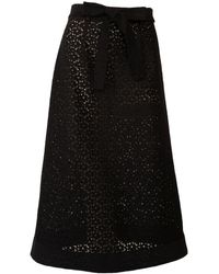 relax baby be cool Black Cotton Lace Midi Skirt