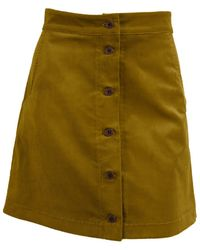 relax baby be cool Ribbed Corduroy High Waist Button Up Mini Skirt - Green