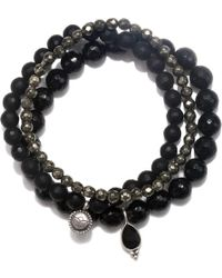 Satya Jewelry - Onyx & Pyrite Stretch Bracelet Set - Lyst