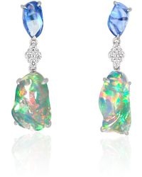 Ri Noor - Ice Drops Blue Sapphire Clear Fire Opal & Diamond Earrings - Lyst