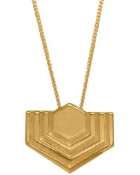 Edge Only Abstract Hexagon Pendant In Gold   A Linear Symmetrical Pattern Necklace In 18ct Gold Vermeil - Multicolour