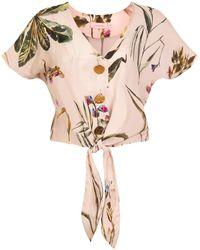 TOMCSANYI Palma Tie Front Button Top 'light Botanical' - Multicolour