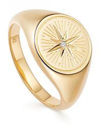 Astley Clarke Celestial Compass Signet Ring - Metallic