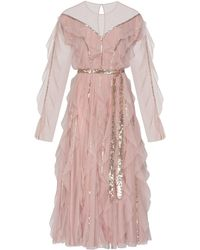 SELEZZA LONDON Bryony Tulle Midi Dress - Pink