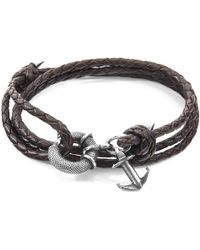 Anchor & Crew - Dark Brown Clyde Anchor Silver & Braided Leather Bracelet - Lyst