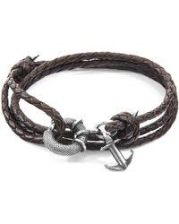 Anchor & Crew - Dark Brown Clyde Anchor Silver & Braided Leather Bracelet - Lyst