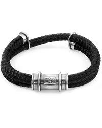 Anchor & Crew - Black Larne Silver & Rope Bracelet - Lyst