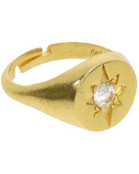 Ottoman Hands Shining Star Gold Signet Ring - Metallic