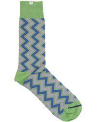 40 Colori - Green Vertical Chevron Striped Organic Cotton Socks - Lyst