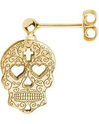 CarterGore Gold Sugar Skull With Heart Eyes Single Short Drop Earring - Metallic