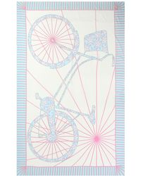 Pink House Mustique Lotty B Silk Chiffon Sarong In Bicycle Print - Multicolour