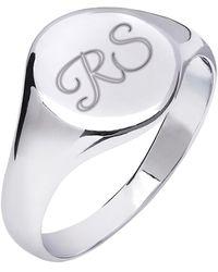 Kaizarin Initial Signet Ring For Men Or Women - Metallic